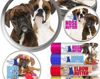 BOXER Dog Big Sniff Combo for Dry Noses, Rough Paws, Elbow Calluses, Itchy Skin Issues - Choice of Fawn, Brindle, White or Show Fawn Labels