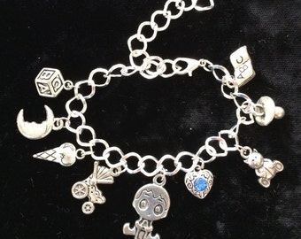 Mother's, First Baby Boy, Silver plated Bracelet, Pewter Charms, 8""