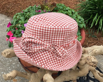 Cute Red Checked Sunhat