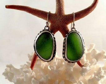 Green Sea Glass Silver Dangle Earrings