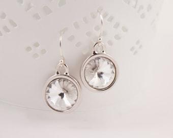 April Birthstone, Clear Crystal Silver Earrings,Choice of Birthstone