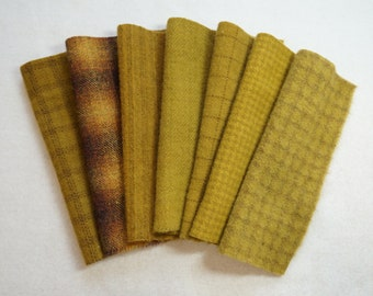 Gold Hand Dyed Felted Wool Fabrics - 100% Wool - Rug Hooking, Quilting, Wool Applique, and Sewing by Quilting Acres