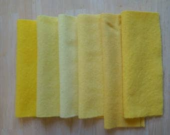 Yellow - Hand Dyed Felted 100% Wool Fabric Perfect for Rug Hooking, Quilting, Applique, and Sewing, by Quilting Acres