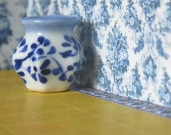 1/12 Scale Downloadable Printable Dollhouse Vintage Style Blue Flowery Wallpaper