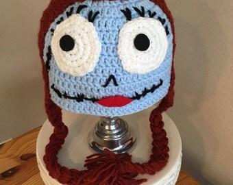 SALLY Inspired  Nightmare Before Christmas  Hat Crochet Braids Skeleton Jack Skellington Hair Wig Halloween Costume Baby Child Adult Cosplay