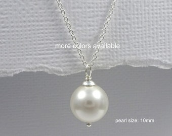 Simple Pearl Necklace, Single Pearl Necklace, Large Pearl Necklace, Bridesmaid Gift Necklace, Bridesmaid Necklace, Ivory Pearl Necklace