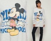 Mickey Mouse Sweatshirt Walt Disney Sweater 80s Grunge Shirt Heather Grey Cartoon 90s Vintage Hipster Retro Large