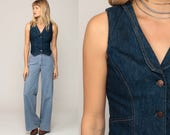 Denim Vest Top 70s Vest Jean Shirt Crop Top Sleeveless Jean Jacket Boho Blue 80s Vintage Hipster Button Up Waistcoat Small