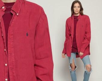 Ralph Lauren Shirt 90s Red Shirt Grunge Polo Sport Oxford 1990s Long Sleeve Boyfriend Button Up Vintage Retro Oversize Large