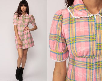Babydoll Dress Mini Puff Sleeve 70s PLAID PRINT Mod Baby Pink 1970s Boho Lolita Peter Pan Collar Empire Waist Dolly Vintage Small