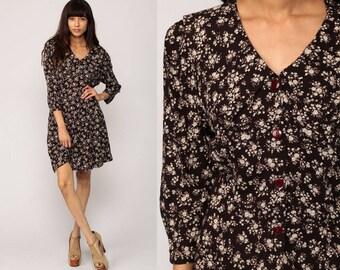 90s Mini Dress Grunge Floral Dress Button Up Brown V Neck 1990s Rayon Vintage Long Sleeve Minidress Sheath Medium