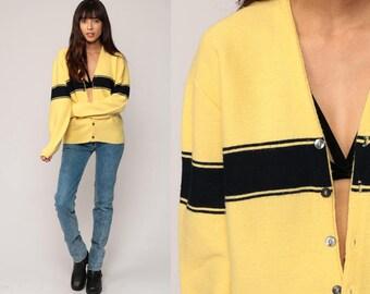 Grandpa Cardigan Striped Sweater 80s Sweater Yellow Black Boho Button Up Acrylic Knit 1980s Preppy Vintage Retro Oversize Medium