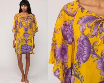 Boho Dress Mini Bohemian Floral Print Tunic Caftan BEACH Cover Up Sleeve Angel Sleeve Summer Yellow Purple Festival Vintage Medium