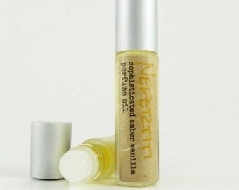 NEFERTITI Roll on Perfume Oil / Amber Vanilla Fragrance Oil / Glass Roll on Bottle