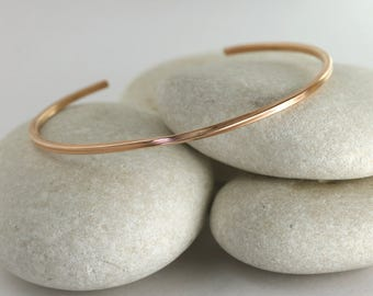 Rose Gold Square Cuff Bracelet, Custom Sized Rose Gold Fill Stacking Bracelet