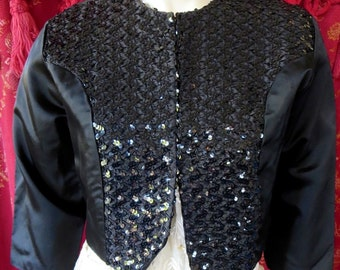 1950s Vintage Taffeta & Sequin Black Bolero Jacket With Original Tags Small