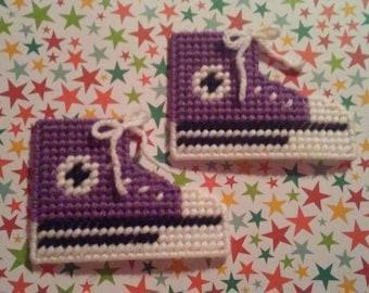 Handmade Purple Converse Shoe Magnets Plastic Canvas