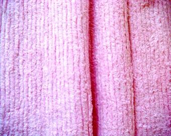 Bubblegum Pink Plush Vintage Cotton Chenille Bedspread Fabric 14 x 18 Inches