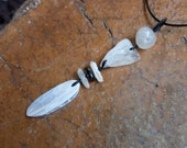 Natural stone pendant necklace - Agate, Quartz, Smoky Quartz - long white elegant jewellery handmade in Australia