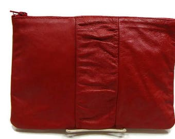 Vintage Red Leather Clutch Vintage Leather Clutch Red Leather Clutch Bag Vintage Leather Purse Small Red Clutch Bag Casual Clutch Bags