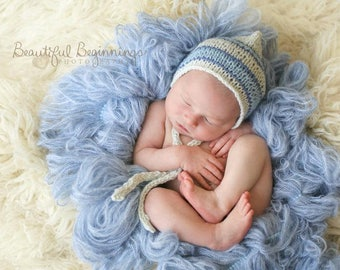 Boy Hat Boa Basket Stuffer Knitted Newborn Pixie Hand Knit Ready Ship Organic Baby Shower Gift Photo Prop Coming Home Going Outfit Bonnet