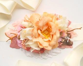 Rustic Rose Bridal Flower Sash, Cream Ivory Pink Vintage Weddings Sash, Rustic Maternity Belt, Pink Ivory Cream Woodland Bride Sash, Prom