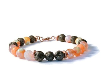 Aromatherapy Essential Oil Diffuser Bracelet, Lava Stones and Onyx