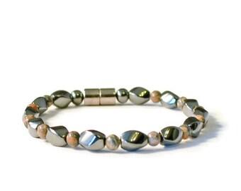 Magnetic Therapy Bracelet with Leopard Jasper Semi-Precious Stones, Arthritis Jewelry