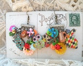 bright spring easter earrings assemblage owl bunny mismatched tulip chandelier cottage chic