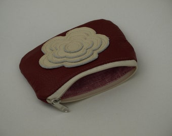 Black friday Leather Bag Change Pouch in Lipstick red and cream white Coin Pouch Gift Idea christmas Accessories