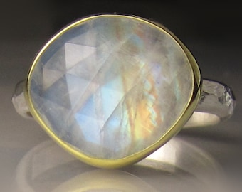 Rose Cut Rainbow Moonstone Ring - 18k Gold and Sterling