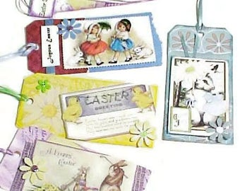 Handmade Easter Tags With Vintage Images