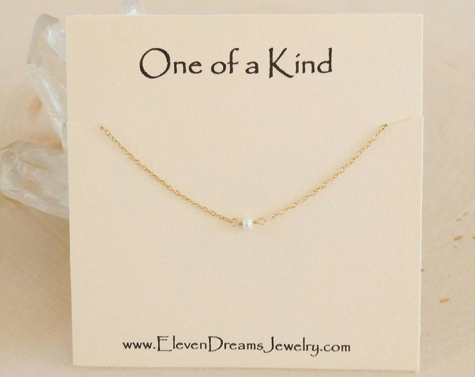 Featured listing image: New! Minimalist freshwater pearl necklace. Gift. Gold or silver. Dainty. Choker. Bridesmaid. Holiday gift for her. Meaning. Empower women