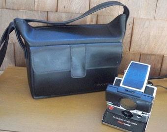 Vintage Electronics Polaroid Land Camera SX - 70 with Case and Flash Attachment