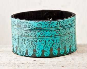 Rainwheel Leather Jewelry Cuff Bracelet Turquoise Boho Accessories