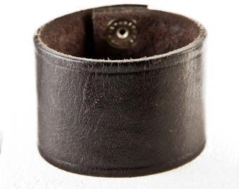 Black Cuff Bracelet Wristband - Handmade From a Leather Belt - Rainwheel