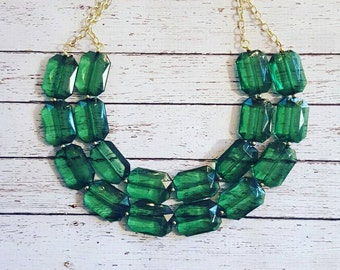FREE EARRINGS, Emerald Green Transparent Chunky Statement Bib Necklace...Purchase 3 or more get 10% off