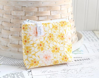 Yellow Floral Coin Purse Floral Change Purse Card Holder Zipper Pouch