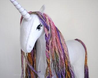 Unicorn Stuffed Animal Heirloom Art Plush, Wool Felt Soft Sculpture , Handmade Waldorf Rainbow Stuffed Unicorn