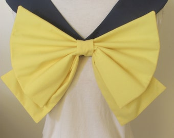 Dark Navy Collar and Yellow Bow Sailor Scout Uranus Cosplay Costume
