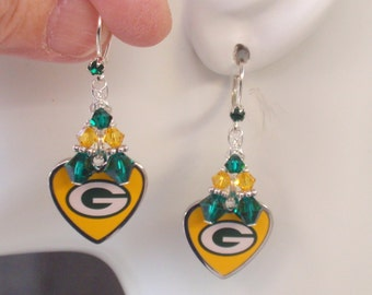 packers earrings green bay packers earrings packers bling green and by 6659
