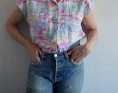 Blouse Vintage Short Sleeve Tropical Print