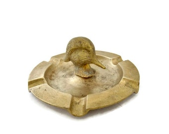 Vintage Brass Duck Head Ashtray, Figural Collectible Tobacciana Duck Cigarette Holder Ashtray