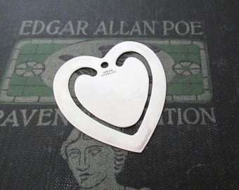 Vintage Sterling Silver Heart Bookmark by Inman Sterling, Book Lover's Bookworm Gift