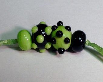 Lampwork Earring Bead Pairs: Handmade Lampwork Beads in Black and Green