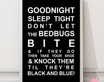 Goodnight sleep tight nursery rhyme print