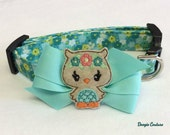 Cute Hoot Owl Dog Collar Size XS Through Large by Doogie Couture