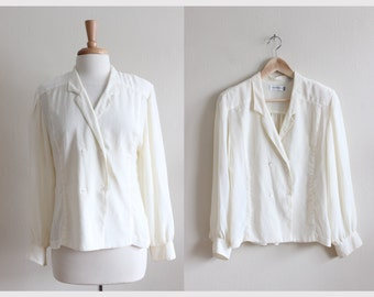 Vintage Long Sleeve Ivory Crepe Chiffon Sheer Button Up Top