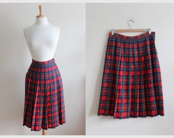 Pendleton Skirt / Vintage Red Royal Stewart Tartan Plaid Pleated Midi Skirt