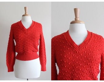 Vintage Diane von Furstenberg Red V Neck Sweater